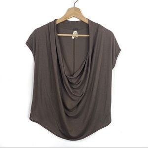 We the Free Brown Cowl Neck Flowy Tee